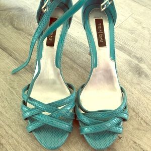 What house black market turquoise leather heels